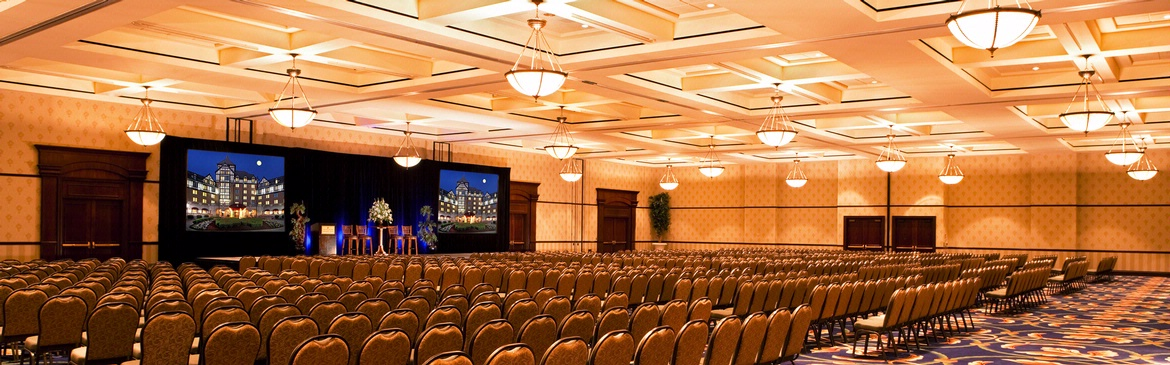 large conference room with projection screens