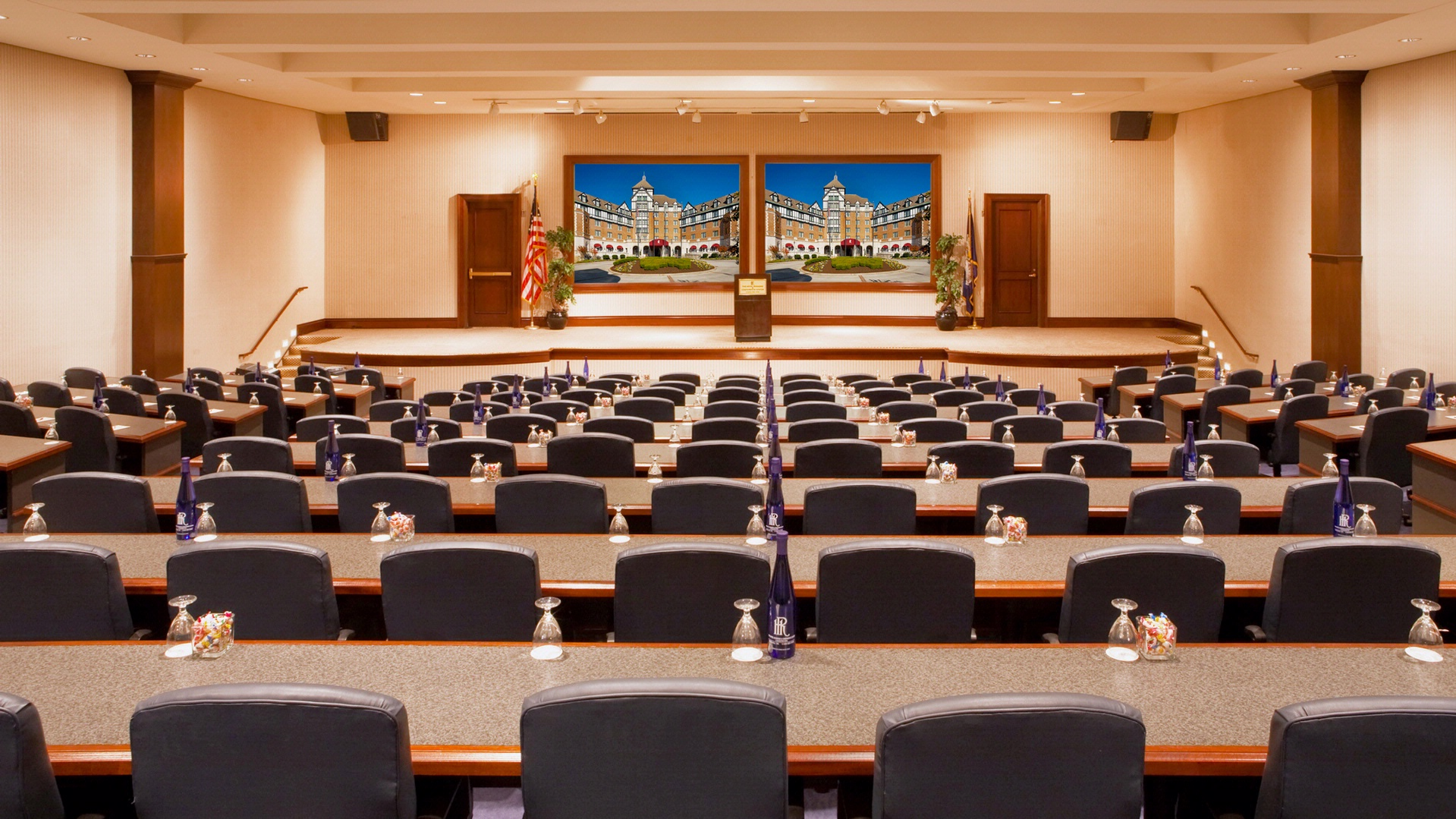 large meeting space with long tables in hotel roanoke