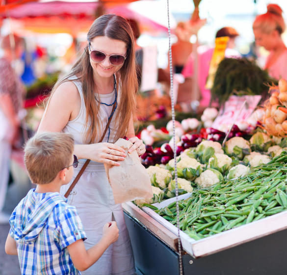 Woman and child at a Farmers Market